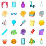 Science project icons set, cartoon style Royalty Free Stock Image