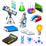 Science Realistic Icons Set. With microscope calculator telescope magnet  and  models of substance molecule vector illustration Royalty Free Stock Photo