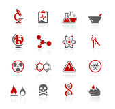 Science // Redico Series. Set of decorative red icons isolated on white background for your web site or presentations Royalty Free Stock Image