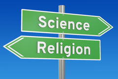 Science or religion concept on the signpost, 3D rendering Royalty Free Stock Photos
