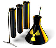 Science Research. Black steel test tubes in Science Research Lab with Radioactive caution icon. 3D render. Isolated on white Royalty Free Stock Images