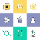 Science research and biology pictogram icons set Stock Photo