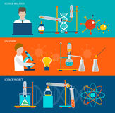 Science research and chemical laboratory banners Royalty Free Stock Photography