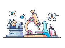 Science and research line flat. Science and research. Chemistry biology, physics and astronomy. Vector illustration Royalty Free Stock Photos