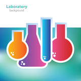 Science and research - colorful laboratory flasks - abstract background Stock Photos