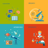 Science and research flat. Icons set with education research astrophysics experiments isolated vector illustration Stock Photos