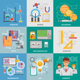 Science Research 9 Flat Icons Square. Exact science research 9 flat icons composition poster with chemistry physics astronomy symbols abstract vector royalty free illustration