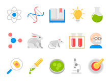Science and research flat vector icons Royalty Free Stock Photography
