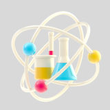 Science and research glossy icon isolated. Science and research glossy icon made of sample tubes inside an atomic structure isolated Royalty Free Stock Photos