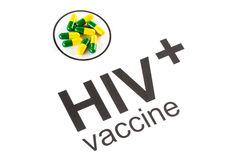 Science research by HIV Oral vaccine capsule, aids Stock Photo
