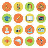 Science and Research Icons. Science and research icon flat set with atom dna magnet molecule isolated vector illustration Stock Photography