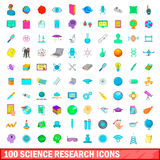 100 science research icons set, cartoon style. 100 science research icons set in cartoon style for any design illustration Stock Photography