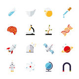 Science and research icons vector set. Collection of 16 flat design science and research themed vector icons  on white background Stock Photo