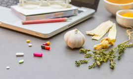 The science and researching herb for make medicine. Stock Images