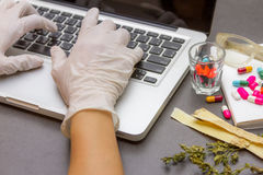 The science and researching herb for make medicine. The science and researching herb for make medicine for decorate and design project Stock Photography