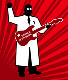 Science revolution, red vector poster scientist Stock Photos
