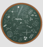 Science round chalkboard Royalty Free Stock Photos
