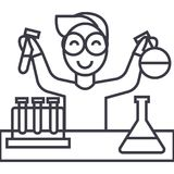 Science in school, lab tests vector line icon, sign, illustration on background, editable strokes. Science in school, lab tests vector line icon, sign Stock Photo