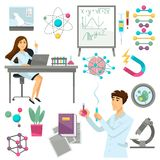 Science and scientist in biology, genetics or physics and chemistry vector icons. Science and scientists icons. Vector isolated set of genetics research and Stock Image
