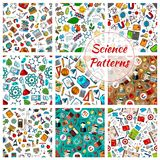 Science seamless patterns for education design Stock Images