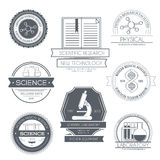 Science set label template of emblem element for Stock Images
