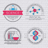 Science set label template of emblem element for your product or design, web and mobile applications with text. Vector Stock Photos