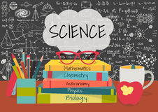 SCIENCE in speech bubbles above science books, pens box,apple and mug with science doodles on chalkboard background.