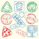 Science Stamps Icon Set stock illustration