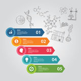 Science 5 steps elements of icon drawing chemistry biology laboratory DNA education research illustration template Stock Photography