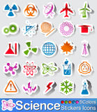 Science stickers icon. Vector- illustration :  Science stickers icon in five colors Stock Photos