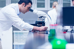 Science student working with microscope in the lab Royalty Free Stock Image