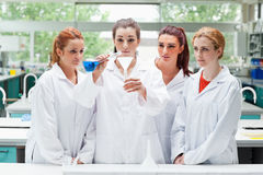 Science students pouring liquid in a flask Stock Photos