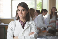 Science students working with chemicals in the lab at the university.Happy student, content for experimental results Stock Photo