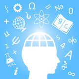 Science symbol. Vector knowledge concept, learner silhouette Royalty Free Stock Images