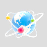 Science symbol as atom sign isolated. Science and atomic structure symbol as atom sign with earth globe as core isolated on grey vector illustration