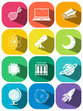 Science symbols on color icons Royalty Free Stock Image