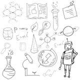 Science symbols with formula on white Royalty Free Stock Image