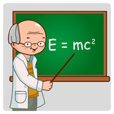 Science teacher on blackboard Royalty Free Stock Photography