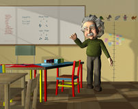 Science teacher in classroom. Science teacher that resembles Albert Einstein in junior classroom Stock Photography