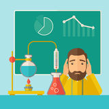 Science teacher in laboratory. A science teacher with scared facial expression works on mixing chemicals for an experiment in the laboratory. A Contemporary Stock Photo