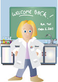 Science teacher welcoming students. Royalty Free Stock Photography