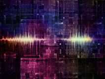 Wave Signal. Science and technology background of glowing sine wave across fractal circuit pattern stock photography