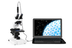 Science Technology Concept. Modern Laboratory Microscope connect Royalty Free Stock Images