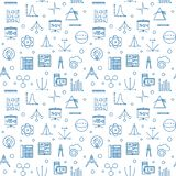 Science, technology, engineering and math seamless pattern. Science, technology, engineering and math vector seamless pattern made with STEM blue linear icons on royalty free illustration