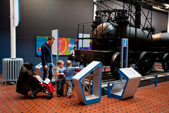 Science and Technology gallery-National Museum of Scotland. Family have fun with Science and Technology gallery-National Museum of Scotland, Edinburgh Stock Photo