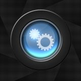 Science and technology icon. Blue icon with gears on aperture style background stock illustration