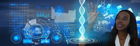 Science and technology interface and Businesswoman touching air in front of sky and sea Stock Photos