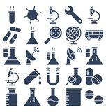 Science and Technology Isolated Vector icons set consist with medical lab, chemistry, plane, dna stock illustration