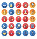 Science and Technology Isolated Vector icons set consist with medical lab, chemistry, plane, dna royalty free illustration