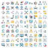 Science and Technology Isolated Vector icons set consist with medical lab, chemistry, plane, mobile, and dna stock illustration